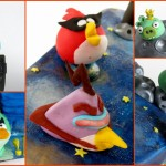 Fondant angry birds in space