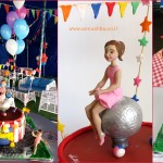 עוגת קרקס עם דמות של ילדת יום ההולד
