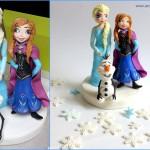טופר של אלזה, אנה ואולף מבצק סוכר להניח על העוגה