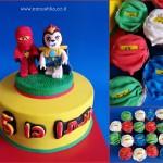 עוגה מעוצבת עם דמויות של נינג'גו מפוסלות בבצק סוכר